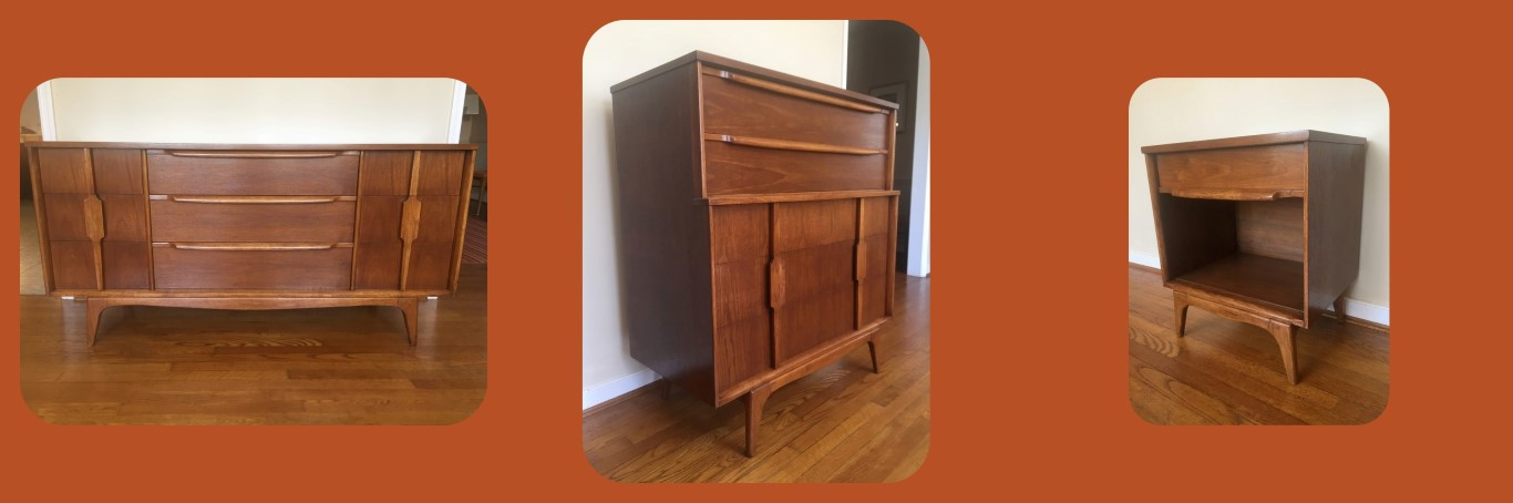 mid century modern thomasville dresser bedroom set
