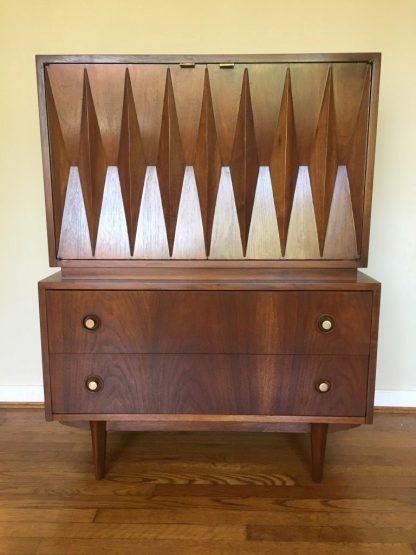 Mid century modern diamond front highboy dresser chest american of martinsville