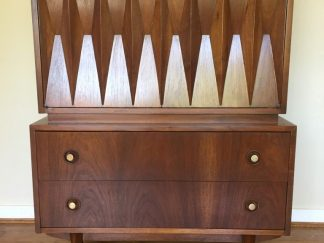 Mid century modern diamond front highboy dresser chest american of martinsville