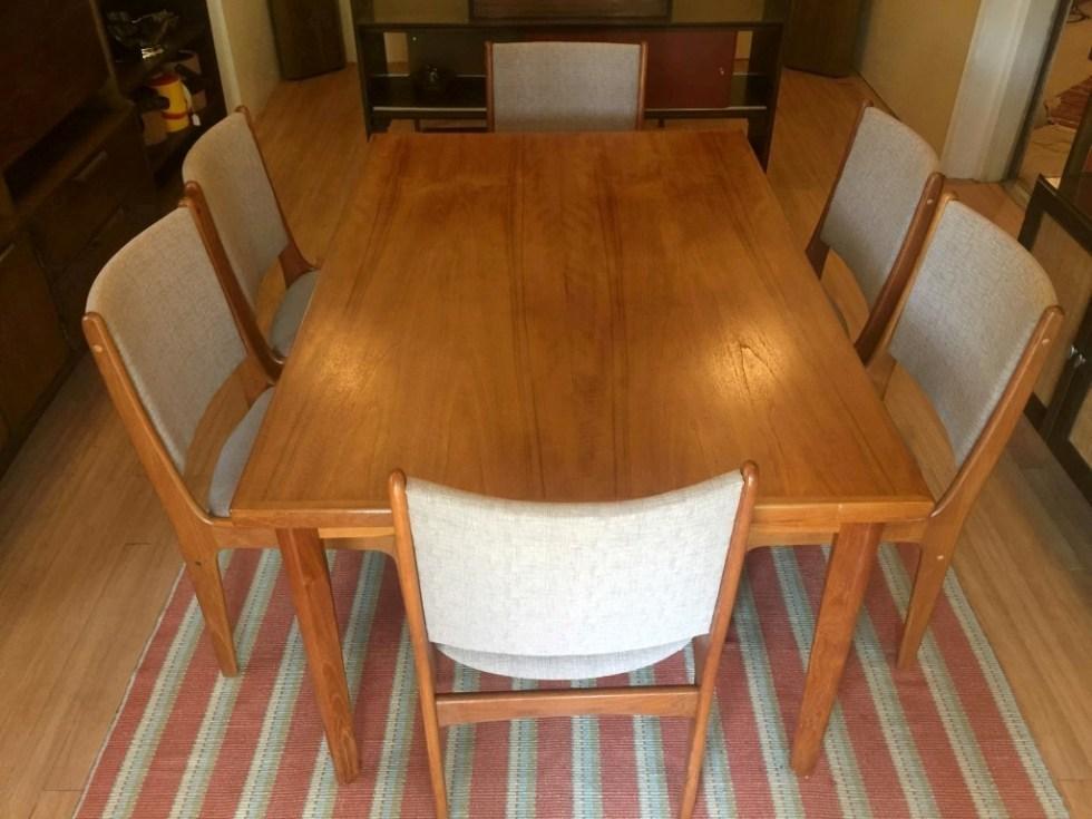 danish modern teak refectory table six chairs