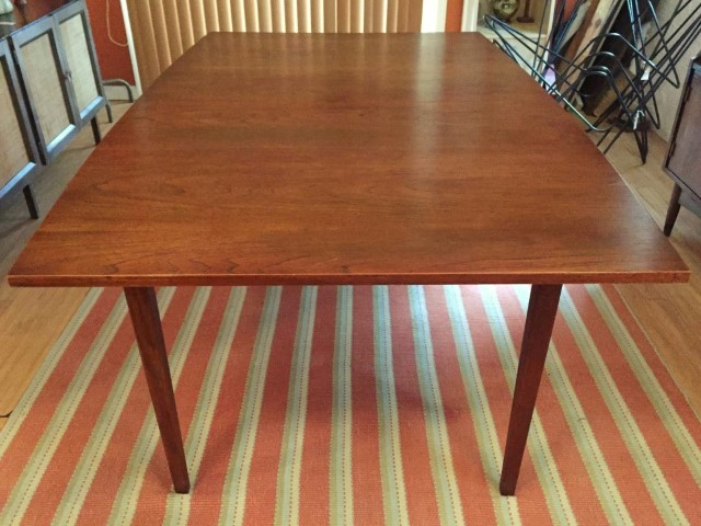 mid century modern walnut dining table, refinished