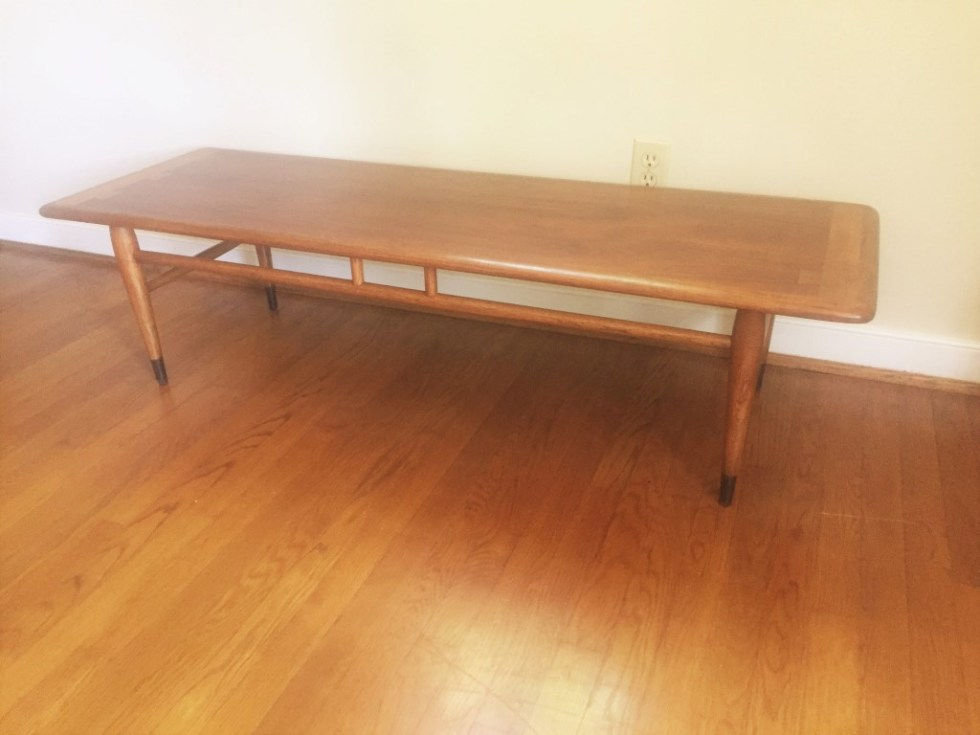 lane acclaim walnut oak coffee table mid century modern