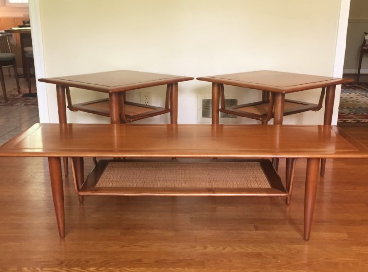 mid century coffee table end tables suspended rattan shelf