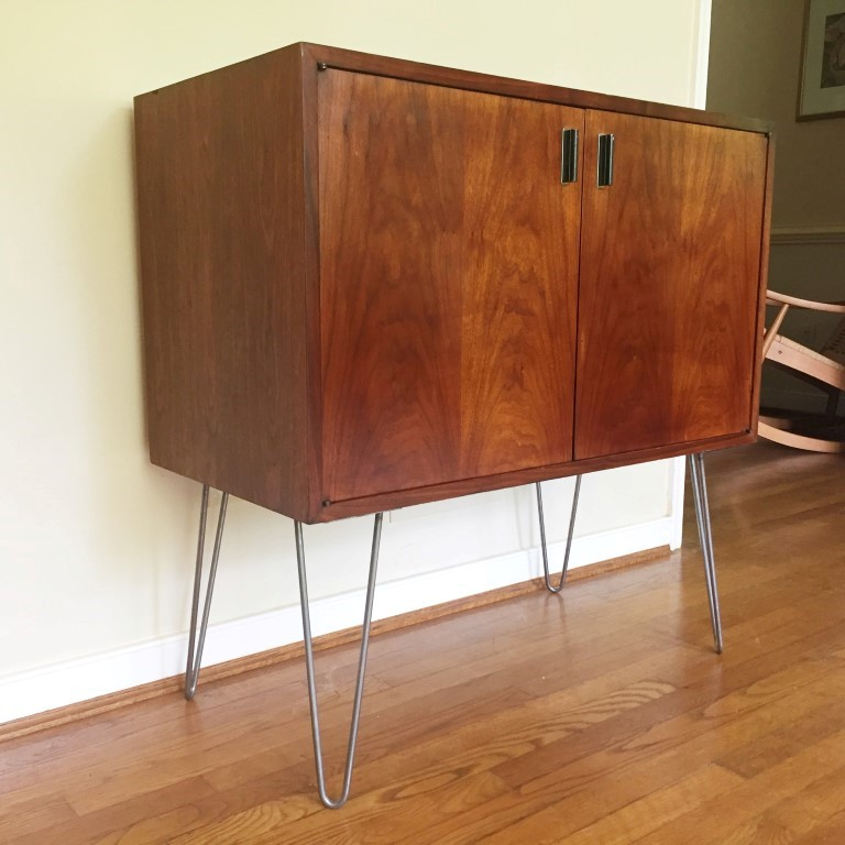 mid century modern storage record album cabinet on hairpin legs