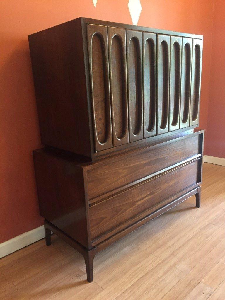 vintage mid century walnut burlwood high dresser chest