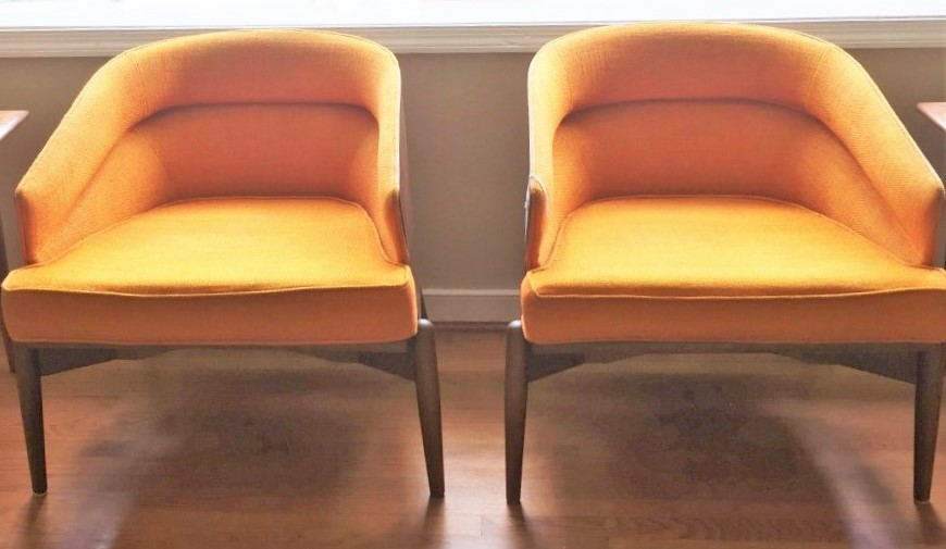 mid century modern barrel back lounge chairs Kodawood miami