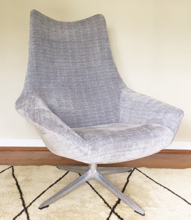 This Danish Modern Upholstered Swivel Chair By H.W. Klein For Bramin Mobler  Has Been Newly Reupholstered In A Durable, Slate Grey Fabric. The Faint ...
