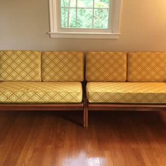 mid century modern sectional sofa walnut loveseat