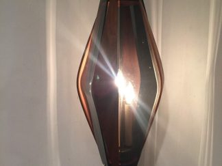 vintage walnut smoked glass swag lamp
