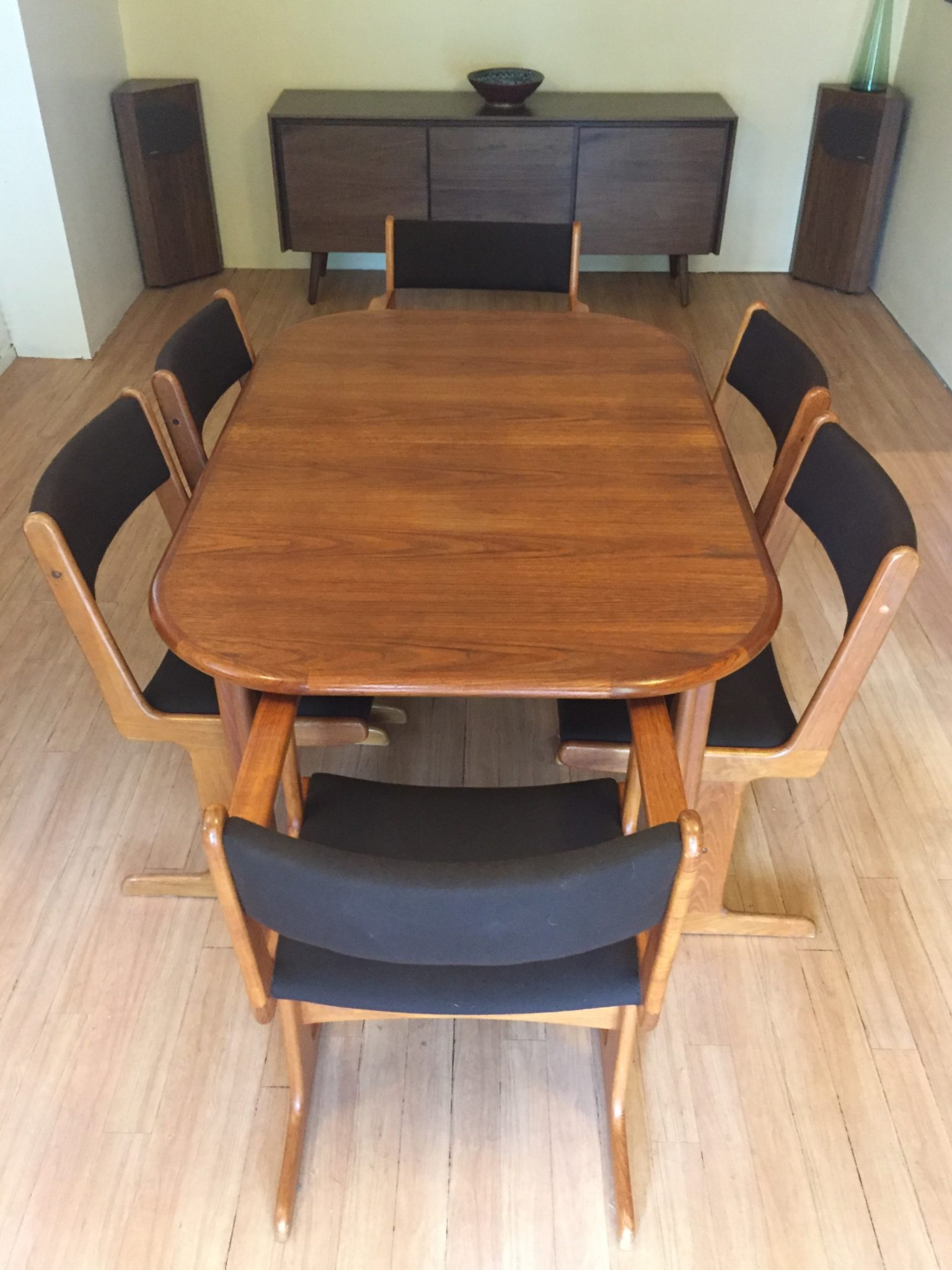 Fantastic Mid Century Modern Teak Dining Set With Dark Chocolate Upholstered Chairs Bralicious Painted Fabric Chair Ideas Braliciousco