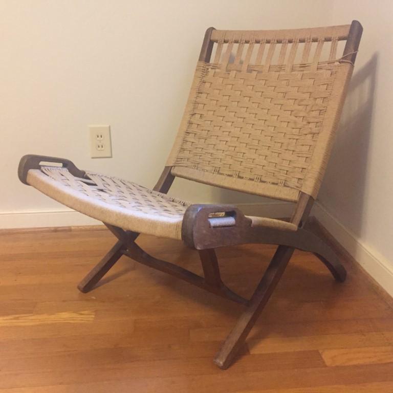 Mid Century Modern Folding Scissor Chair Woven Rope Seat Backrest Epoch