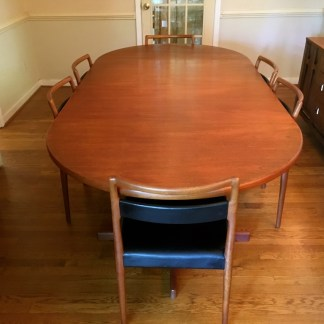 teak danish modern mid century dining set leaf 6 chairs