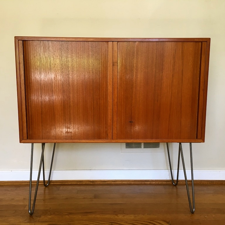 Danish Modern Teak Record Album Storage Cabinet With Tambour
