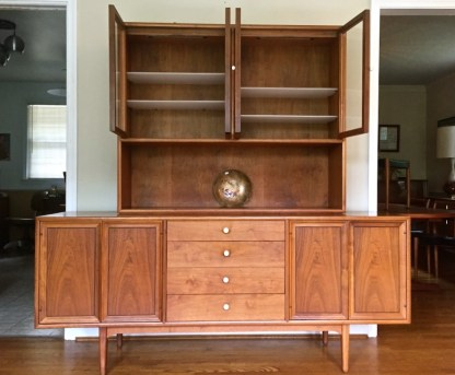 drexel declaration mid century modern walnut china cabinet