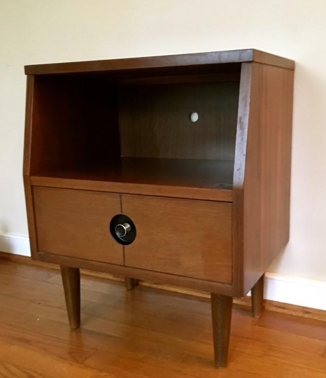 Mid Century Modern Walnut Nightstand One Drawer Stanley