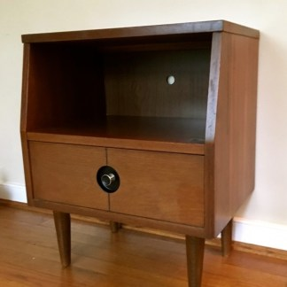 mid century modern walnut nightstand one drawer stanley
