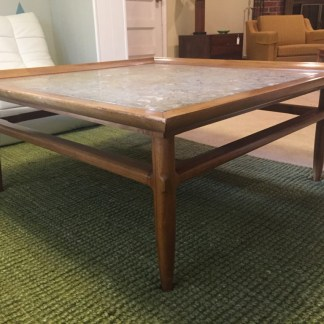 mid century square coffee table marble top