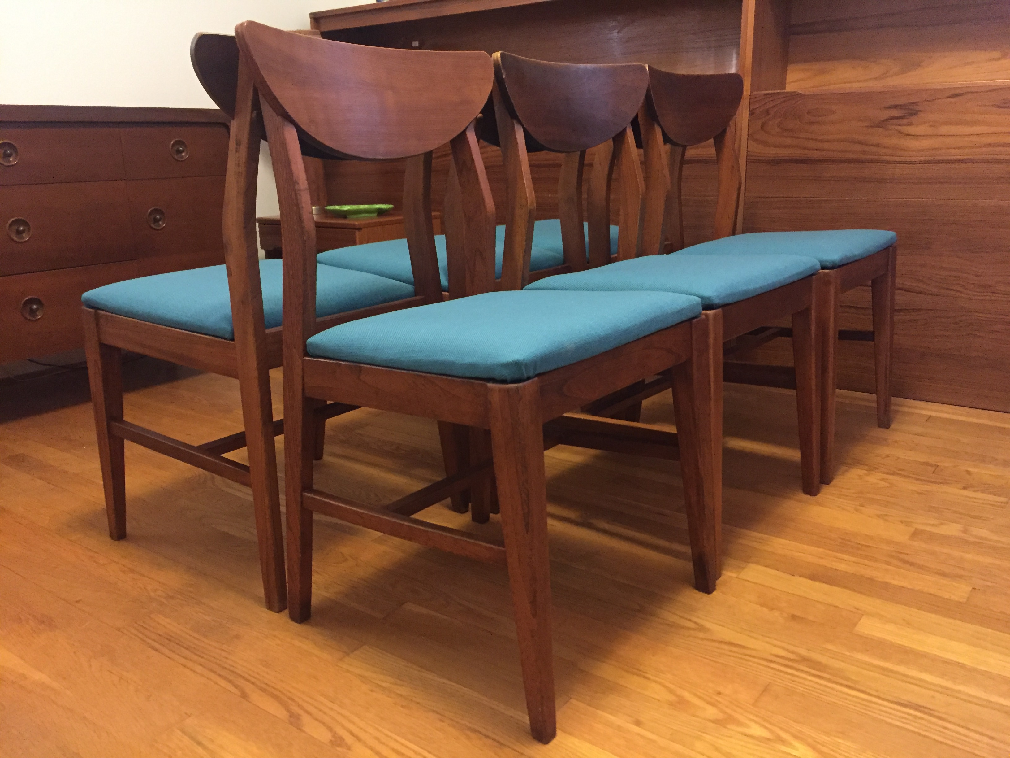 Mid Century Modern Walnut Dining Chairs with Teal ...