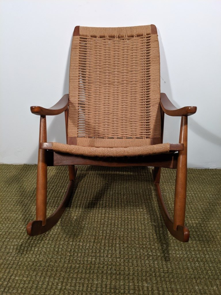 Pleasing Vintage Yugoslavian Hans Wegner Style Corded Rocking Chair Ocoug Best Dining Table And Chair Ideas Images Ocougorg