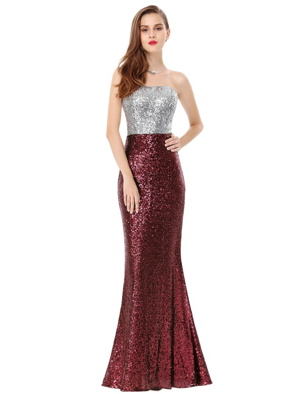 Women's Strapless Sequins Formal Evening Party Dresses ...