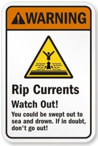 Riptide warning sign