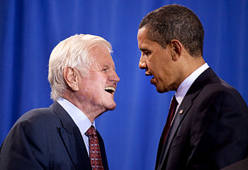 President Barack Obama and Senator Ted Kennedy