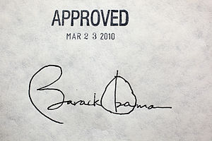 English: President Barack Obama's signature on ACA