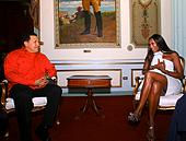 Hugo Chavez and Naomi Campbell
