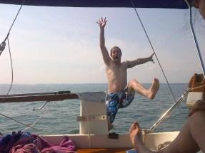Falling off a boat