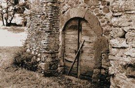 Wood door in a stone building