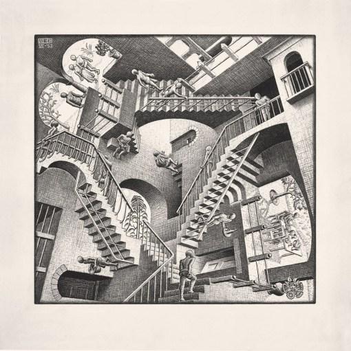Maurits Cornelis Escher Casa di scale - Relatività 1953 Litografia, 27,7x29,2 cm Collezione Giudiceandrea Federico All M.C. Escher works © 2016 The M.C. Escher Company. All rights reserved www.mcescher.com