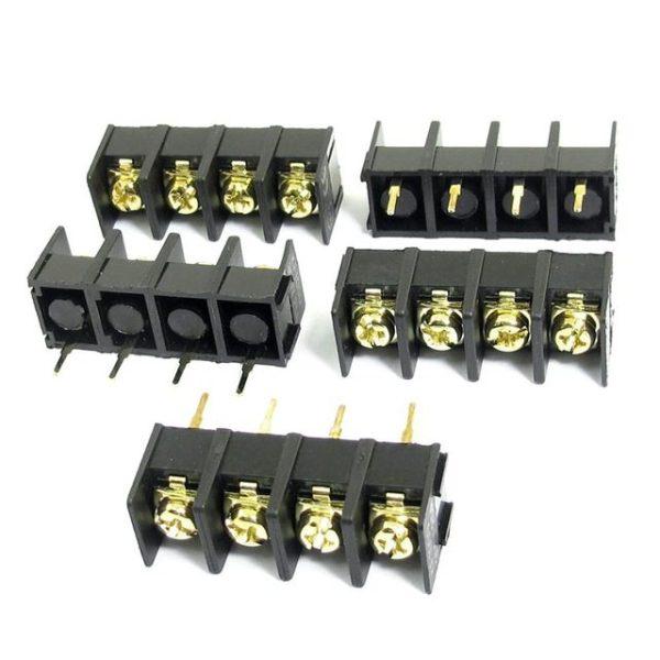 300V-25A-4-Pin-10Mm-Black-Screw-Terminal-Barrier-Block