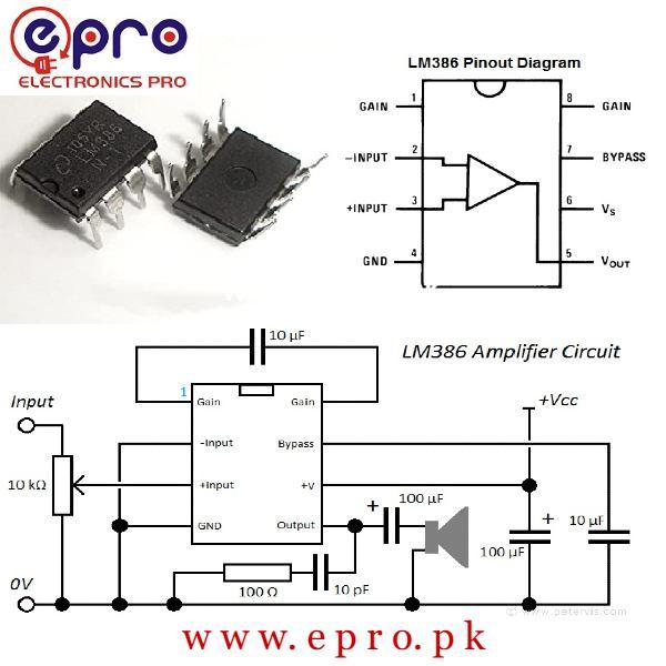 LM386 Audio Power Amplifier IC in Pakistan