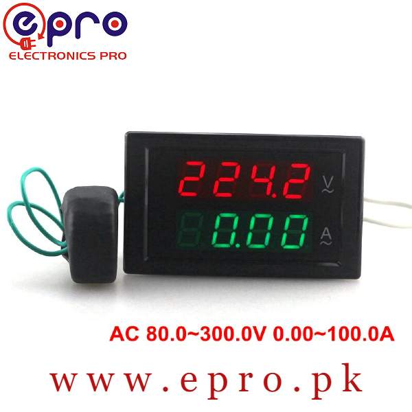 220V AC Volt and Amp Meter Dual Digital Display Voltage Current LCD Dual Panel 100Amp in Pakistan