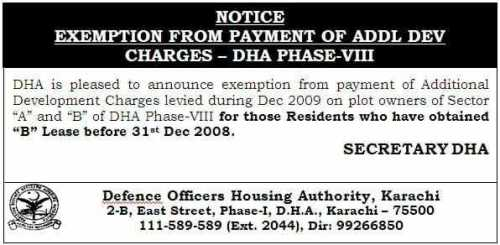 DHA Karachi Phase 8 Exemption for Additional Development Charges