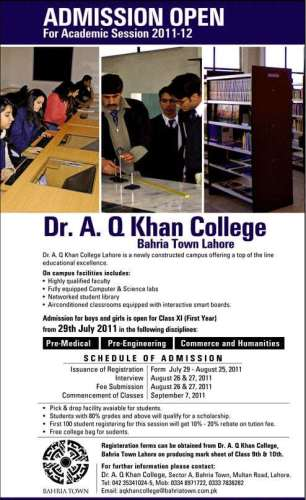 Dr. A. Q  Khan Collage Sector A Bahria Town Lahore