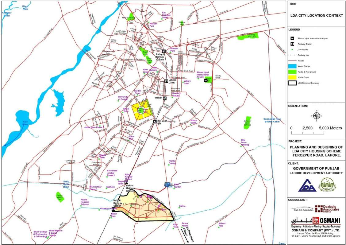 LDA City Lahore Location Map