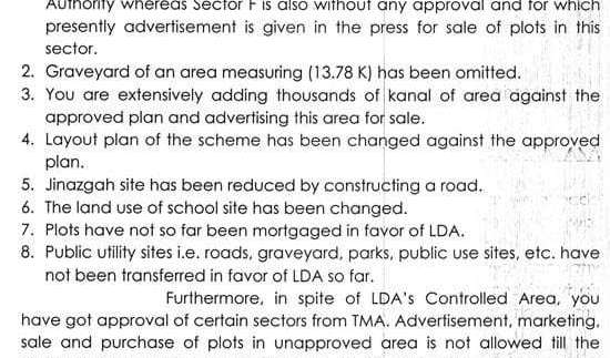 LDA Show Cause Notice Bahria Town Lahore