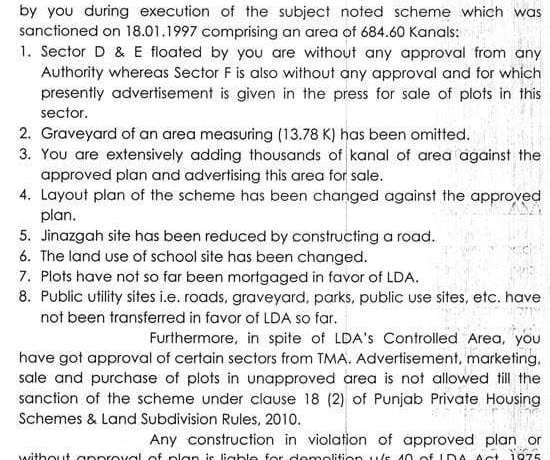 LDA Show Cause Notice Bahria Town Lahore