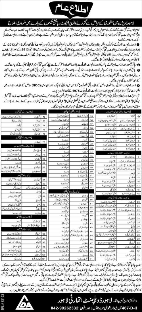 Private Housing Schemes Under Approval Process in Lahore Division