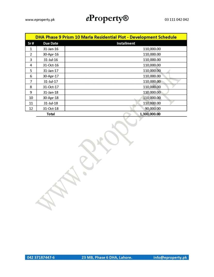 DHA Phase 9 Prism 10 Marla Plot Development Schedule
