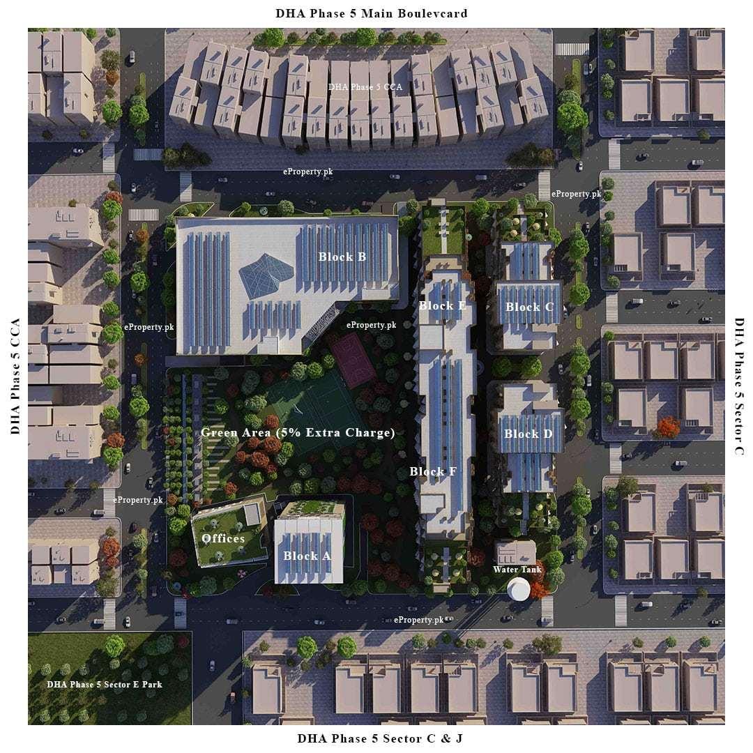 DHA Penta Square Apartments Location Map