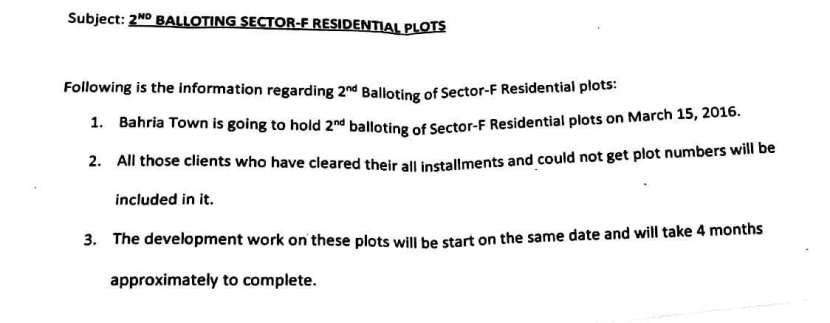 Bahria Town Lahore Sector F 2nd Ballot