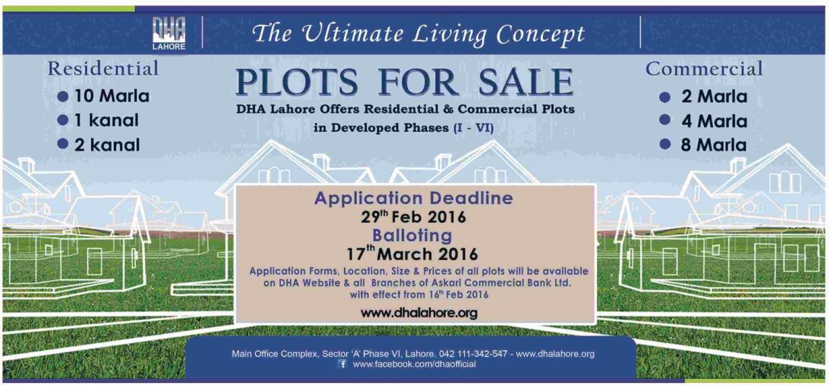Dha Lahore Offers Residential Commercial Plots Phase 1