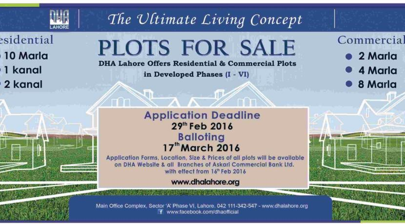 DHA Lahore offers Residential & Commercial Plots in Developed Phases on Installment Plan
