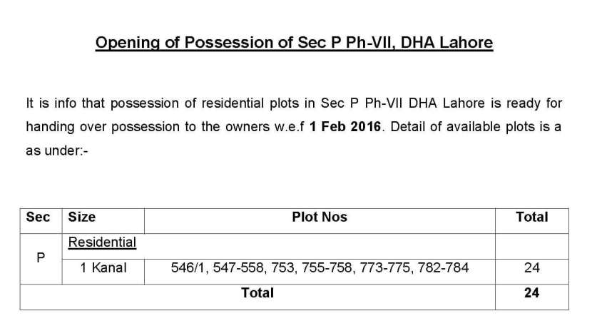 Opening of Possession of Sector P Phase 7 DHA Lahore