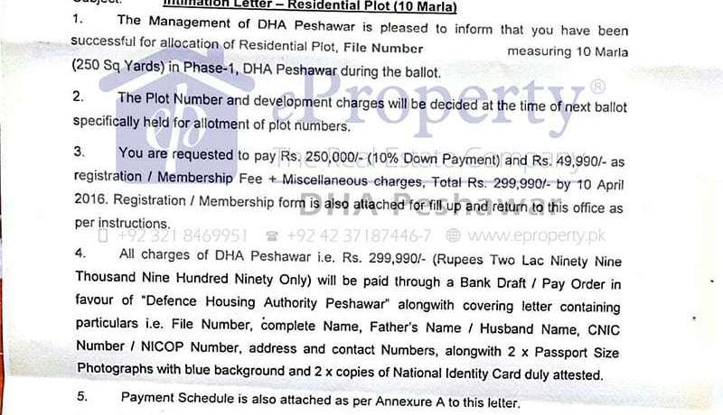 DHA Peshawar Intimation letter