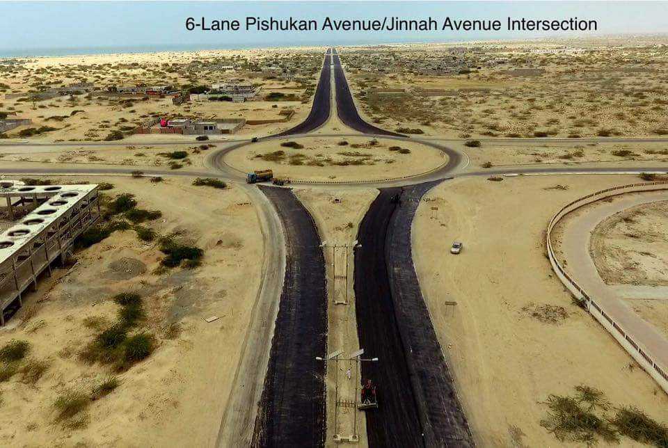 6-Lane Pishkuan Jinnah Avenue Intersection Gwadar