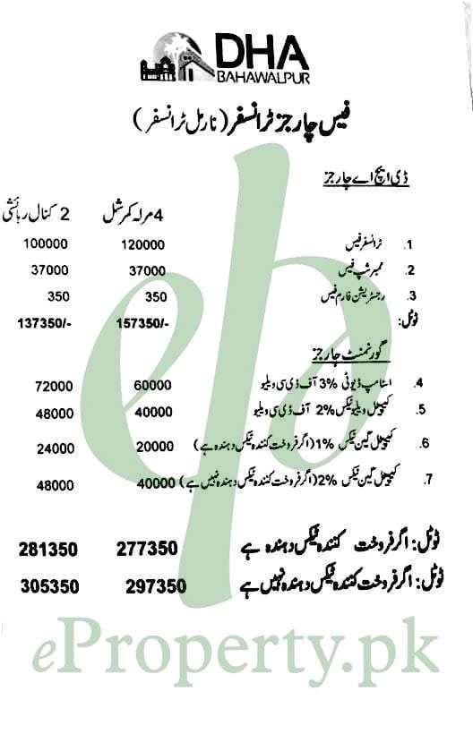 DHA Bahawalpur 4 Marla Commercial & 2 Kanal Residential Transfer Fee