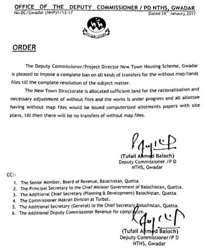 DC Gwadar imposed ban on transfer of New Town non map files